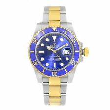 Rolex Submariner Steel Yellow Gold Ceramic Blue Dial Automatic Mens Watch 116613