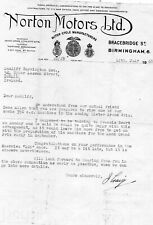 NORTON MOTORS LTD., ORIGINAL LETTER 14/7/1948. BARRINGTON. CRAIG. ULSTER G.P.
