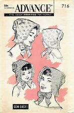 Vintage Advance #716 Mother Daughter BONNET Hat Fabric Sewing Pattern GIRLS Head