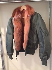 Genuine Fox Fur Bomber Jacket Real US Military Style Shell 6/8 S/M