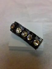 Chunky Faceted Rhinestone Silver Tone Goth Cuff Bracelet  Costume Jewelry