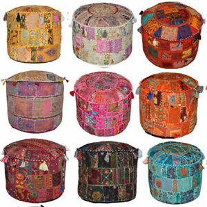 Pouf Cover Bohemian Patchwork  Ottoman Ethnic Decor Indian Pouffe Foot Stool