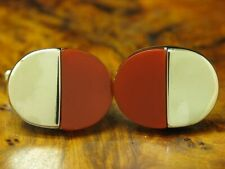 835 Silver Cufflinks With Carnelian Decorations / Real Silver/0.3oz