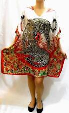 Red Caftan Dress Cover Up M L XL 1X Dashiki Tunic Hawaiian Flower Leopard Beach