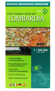 LOMBARDIA CARTA STRADALE REGIONALE 1:200.000 [CARTINA/MAPPA] DE AGOSTINI