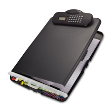 Officemate Slim Clipboard Box with Calculator, Charcoal 83306