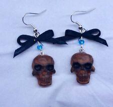 Jack Skellington skull earrings Rock & Roll Gothic Halloween bead silver fimo
