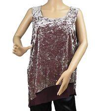 Women's Purple White Velvet Sleeveless Tank Top Blouse Vest INC Petite PXL New