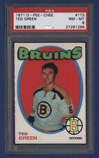 1971-72 OPC Ted Green #173 PSA 8 NM-MT Boston Bruins *SHARP* !