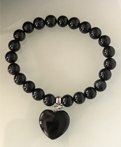 Protection Anxiety Stress Relief Love Heart Black Obsidian Healing Bracelet
