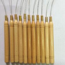 12PCS Hair Extension Hook Pulling Tool Kit Needle Threader Micro Ring Beads Loop