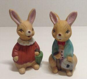 Vintage LOT of 2 Ceramic Bunny Rabbit Figurines Midwest Import