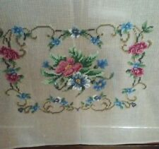 Hand  Embroidered Needlepoint  Ottoman Chair Canvas with Flowers