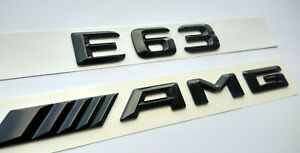 Mercedes E63 AMG schwarz glänzend Schriftzug-Embleme