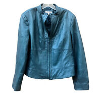VTG Yvonne & Marie Lamb Skin Leather Moto Jacket Teal V Neck Lined Full Zip 12