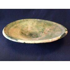 Superbe grand plat émaillé vert 34 cm  Maroc  XXe , AL- MAGHRIB