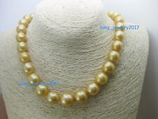"18"" Gorgeous AAA+ 15mm real natural south sea golden baroque pearl necklace 14k"