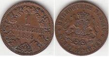 Monnaie 1 Kreuzer en cuivre région Nassau (Allemagne) 1859