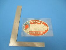 Vintage 1963 Baggage Sticker for Cunard Line Queen Mary Stateroom, Sloper, S1543