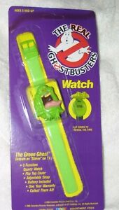 VINTAGE RARE THE REAL GHOSTBUSTERS WATCH SLIMER THE GREEN GHOST MINT ON CARD NEW