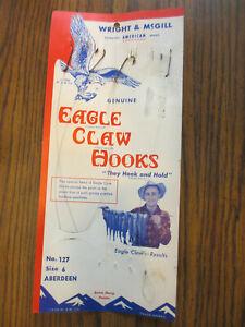 Vintage 1938 Eagle Claw Hook Display Snelled Hooks Ruler-card W&M, Denver CO USA