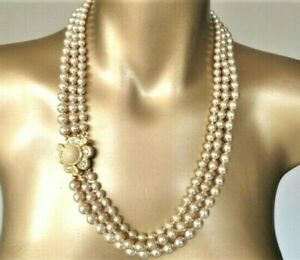 Signed JOAN RIVERS Three Strand Glass Pearl Knotted Necklace 110 grams 60cm