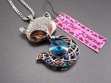Betsey Johnson fashion inlay Crystal black fox Pendant Necklace #F197 A