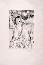 Paul DELVAUX s/n Original Etching Douce Nuit 1969 - Mira Jacob N°4