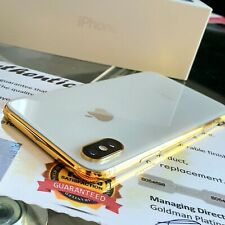 24k Gold Plated Apple iPhone XS Unlocked 64gb Smartphone Silver Boxed