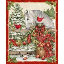 Season Of Joy Horse Bow Panel  wall hanging fabric quilt 36