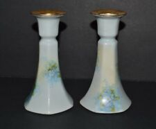 "Handpainted Pair Vignaud Limoges Candlesticks Candle Holders 5 1/4"" H x 3"" base"