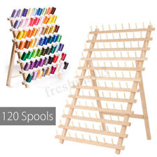 120 Spools Wood Sewing Thread Rack Stand Organizer Embroidery Storage Holder New