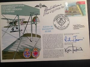 FDC - FAIREY SWORDFISH FAA, Signed Janvrin & Wellman Taranto WW2 HMS Illustrious