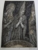 THE THREE WISE MEN Original Etching by Leonid STROGANOV