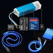 Type C LED Data USB Cable + All in 1 Micro SD TF SDHC MMC USB Memory Card Reader