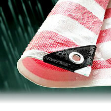 5.5M x 7.0M RED STRIPED WATERPROOF TARPAULIN SHEET TARP COVER WITH EYELETS