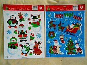Christmas GLITTER Vinyl Window Clings / 35 Pieces / Santa / Snowman / Reindeer