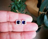 2 Ct Diamond Halo Stud Earrings with Blue Sapphire Women's Studs 14K White Gold