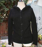 MARC JACOBS  Black Hooded Cardigan Sweater M Black Label