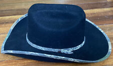 Double S Hat Collection Western Cowboy Hat Black Felt w Camouflage Size 7 3/8