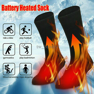 1Pair Electric Heated Socks Rechargeable Battery Feet Winter Warm Skiing Hunting