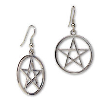 Gothic Pentacle Silver Finish Medieval Renaissance Dangle Earrings #809