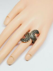 Vintage Mexico Sterling Silver Adjustable Feather Motif Bypass Ring (18)
