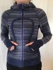 Lululemon Size 4 Poncho Stripe Scuba Hoodie Yoga Wish Blue stretch panels Jacket