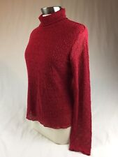 J.Jill Pullover Women's Size M Red Lace Stretch Lined Top Turtleneck Long Sleeve