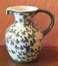 "8"" Ceramic Studio 3-pint Jug / Vase featuring Foliage and Flowers."