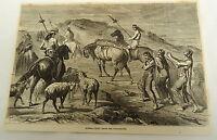 1878 magazine engraving ~ FUNERAL RITES AMONG THE PATAGONIANS