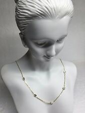 """14K Yellow Gold Station Necklace Cubic Zirconia By The Yard Necklace 18"""""""