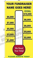 4' x 8'  VINYL BANNER CUSTOM FUNDRAISER FUND RAISING THERMOMETER