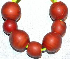 Antique Red Venetian Lampwork Cornaline d'Aleppo Beads Yellow Core African Trade